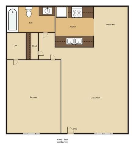 1 Bed - 1 Bath Floor Plan 2