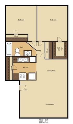 2 Bed - 1 Bath Floor Plan 3