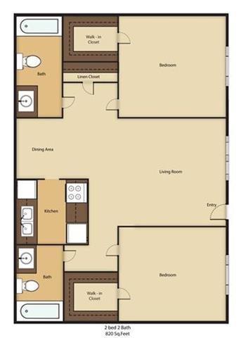 2 Bed - 2 Bath Floor Plan 4