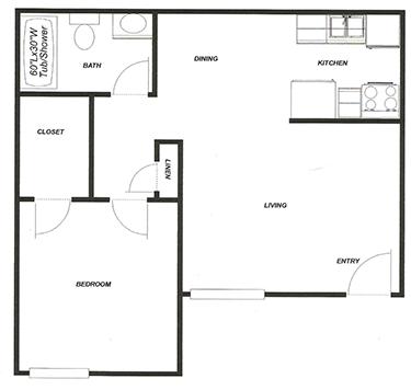 1 Bed - 1 Bath Floor Plan 1