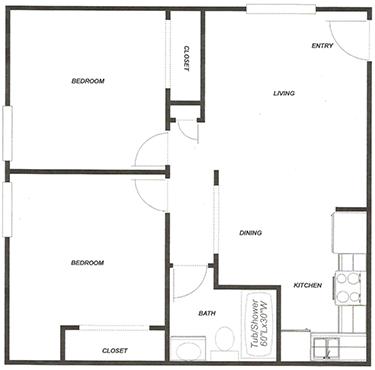 2 Bed - 1 Bath A Floor Plan 2