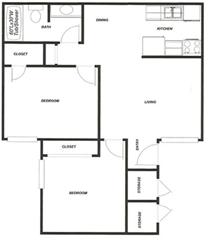 2 Bed - 1 Bath B Floor Plan 3