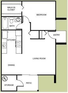 The Dakota - 1 Bedroom, 1 Bath Floor Plan 1