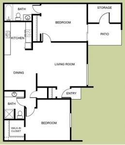 The Vintage - 2 Bedroom, 2 Bath Floor Plan 2