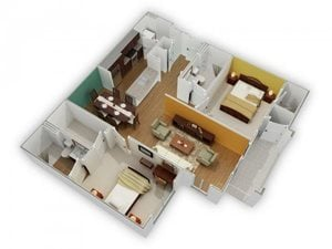 The Mitchell A-2 Floorplan at Phillips Mallard Creek Apartments, Charlotte, NC