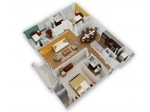 The Neuse A-2 Floorplan at Phillips Mallard Creek Apartments, NC