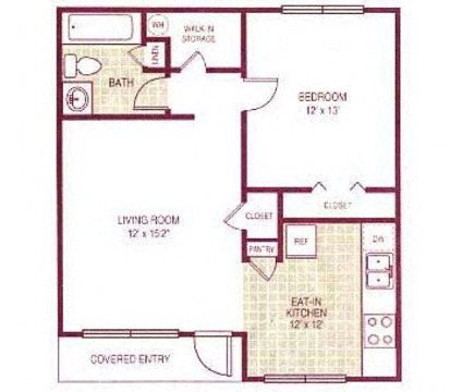 One bed/one bath Floor Plan 1