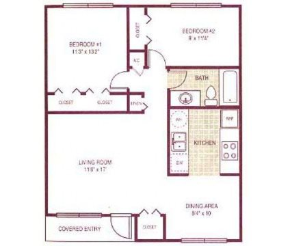 Two bed/One bath Floor Plan 2