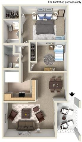 Two Bed Two Bath Floor Plan 1