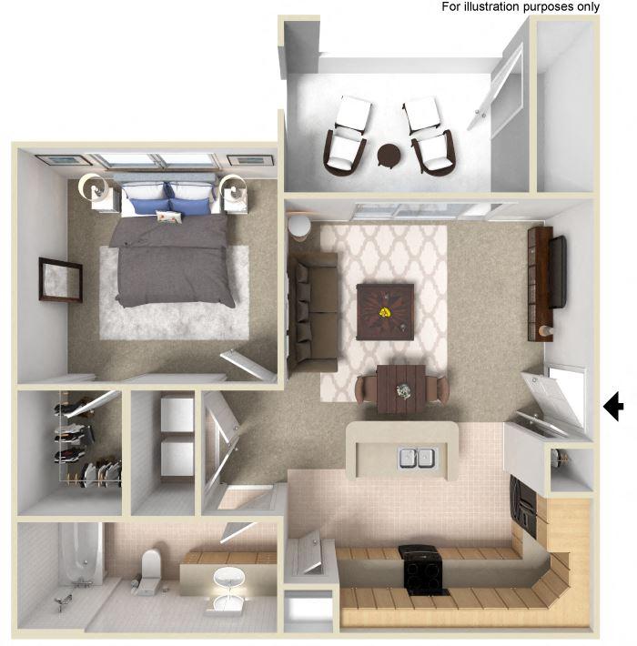 1 Bedroom Floor Plan Units available at Silverado Crossings