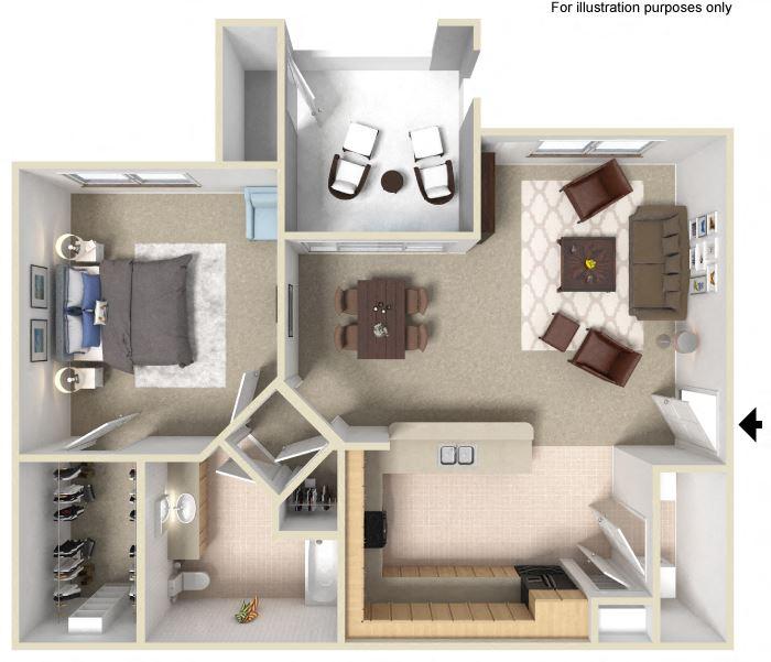 1 Bedroom Floor Plan available at Silverado Crossings