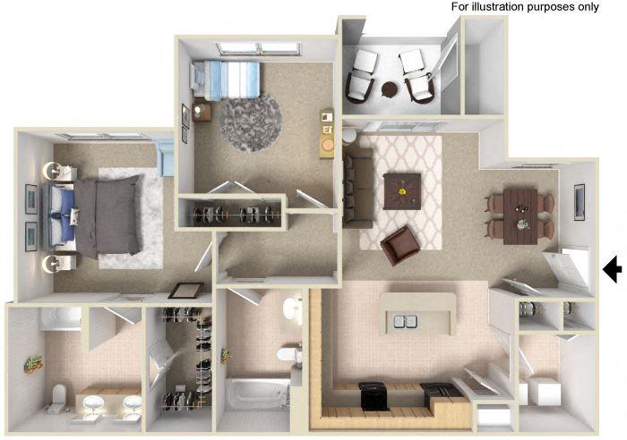 2 Bedrooms Floor Plan available at Silverado Crossings