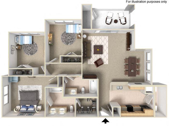 3 Bedroom Floor Plan Units available at Silverado Crossings