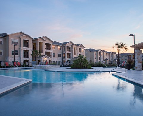 Large pool with apt buildings Buda Texas Rentals  l Silverado Crossing Apartments For Rent