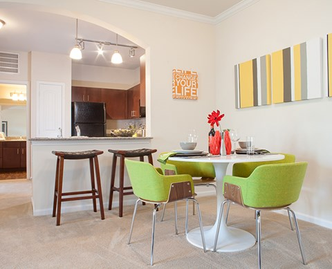 Dining Area view of kitchen Buda Texas Apts For Rent l Silverado Crossing Apartments