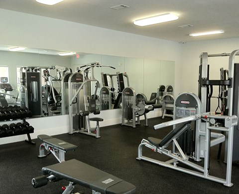 Gym with Fitness Equipment Buda Texas Rentals l Silverado Crossing Apartments For Rent