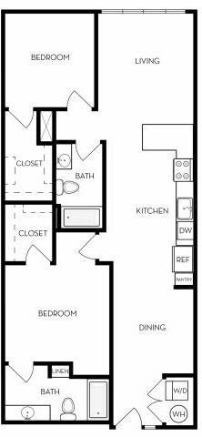 2 Bed - 2 Bath B Floor Plan 1