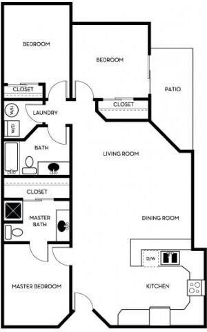 3 Bed - 2 Bath Floor Plan 4