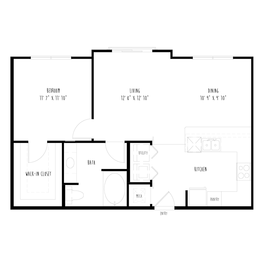 A7: 1 Bedroom, 1 Bathroom Apartment