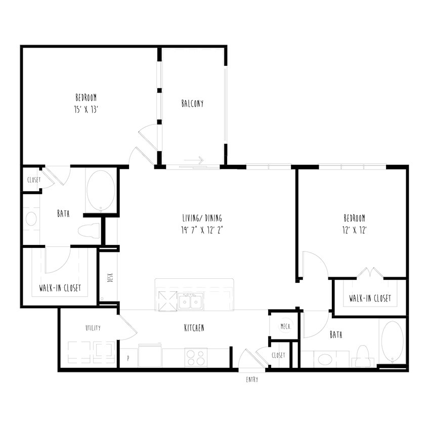 B1: 2 Bedroom, 2 Bathroom Apartment