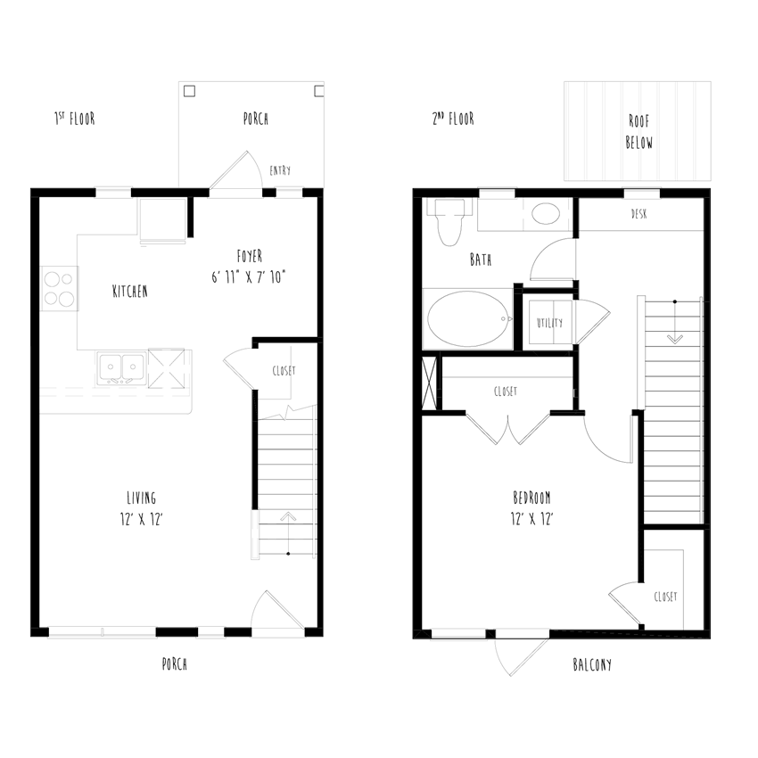 THA5: 1 Bedroom, 1 Bathroom Townhome