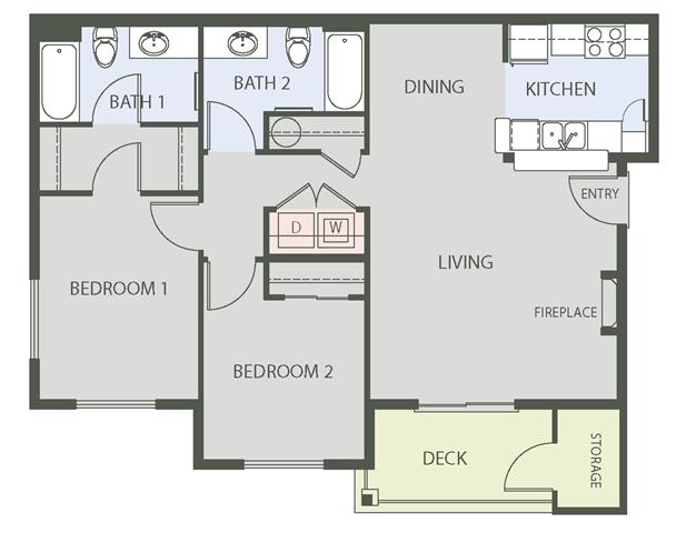 Floorplan at The Arbors at Edgewood Apartments, Edgewood, Washington