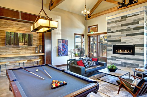 Clubhouse with Billiards Table at The Arbors at Edgewood Apartments, Edgewood, Washington