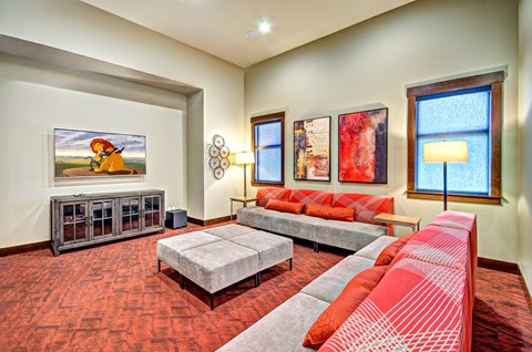 Comfortable Media Lounge at The Arbors at Edgewood Apartments, WA, 98372
