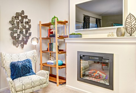 Upscale Electric Fireplace at The Arbors at Edgewood Apartments, Washington, 98372