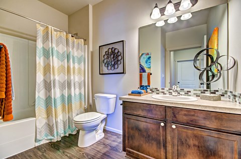 Craftsman Cabinetry and Granite Countertops in Baths at The Arbors at Edgewood Apartments, WA, 98372
