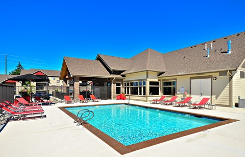 Heated Outdoor Pool at The Arbors at Edgewood Apartments, 10304 20th Street E, Edgewood, WA