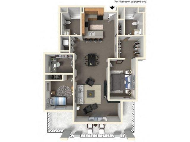 Floorplan at The Villas in Bellevue Apartments, Bellevue, Washington
