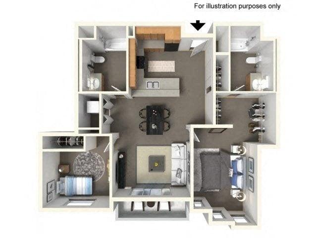 Floorplan at The Villas in Bellevue Apartments, Bellevue, 98007