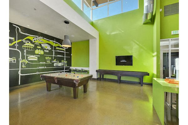 Clubhouse game room with billiards and shuffleboard.