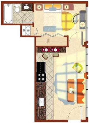 The Carrillon 1BR 492 sq ft