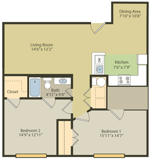 Two Bedroom, One Bathroom Floor Plan