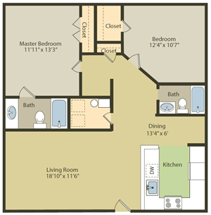 Two Bedroom, Two Bathroom Floor Plan