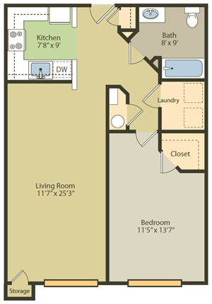 One Bedroom, One Bathroom floor plan