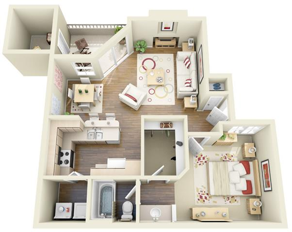 Awesome One Bedroom One Bath A1, A2