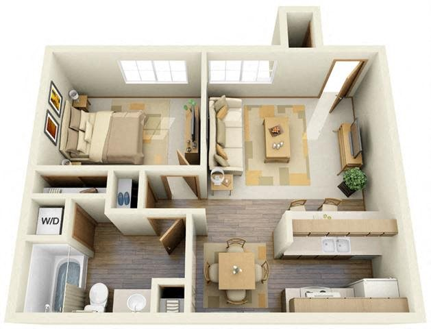 One Bedroom B Floor Plan 2