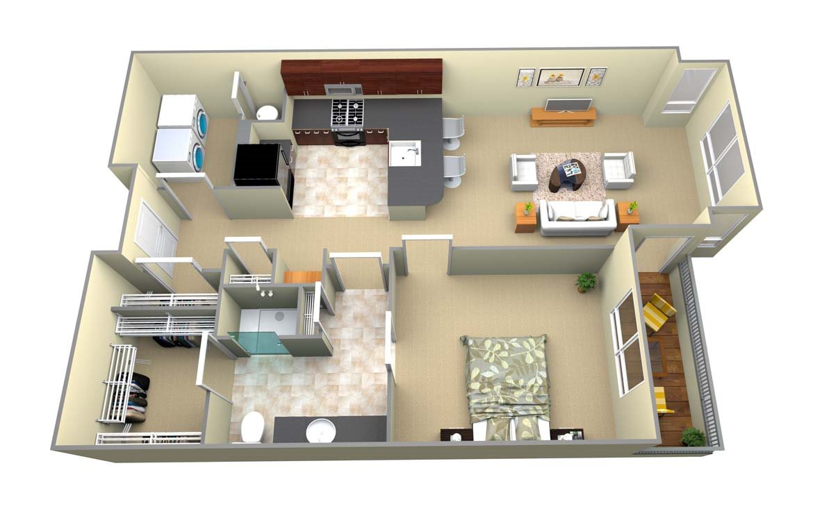 A1 1 Bed/1 Bath Floor Plan 3