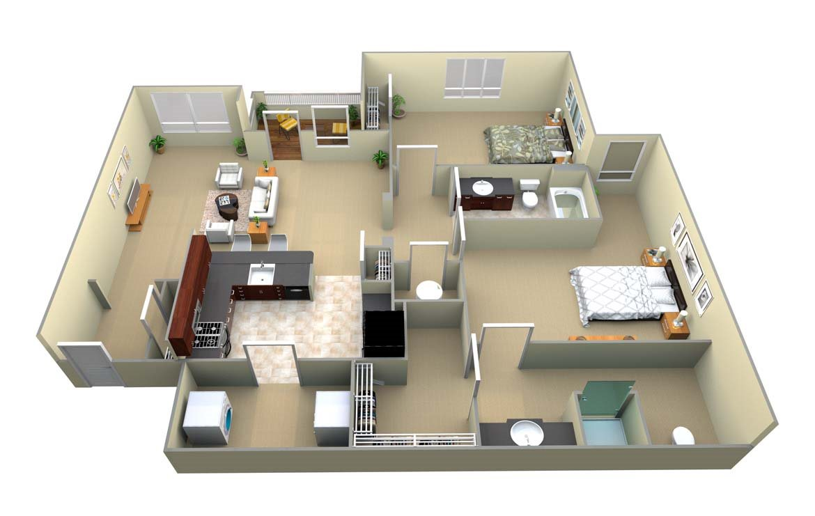 B1 2 Bed/2 Bath Floor Plan 1