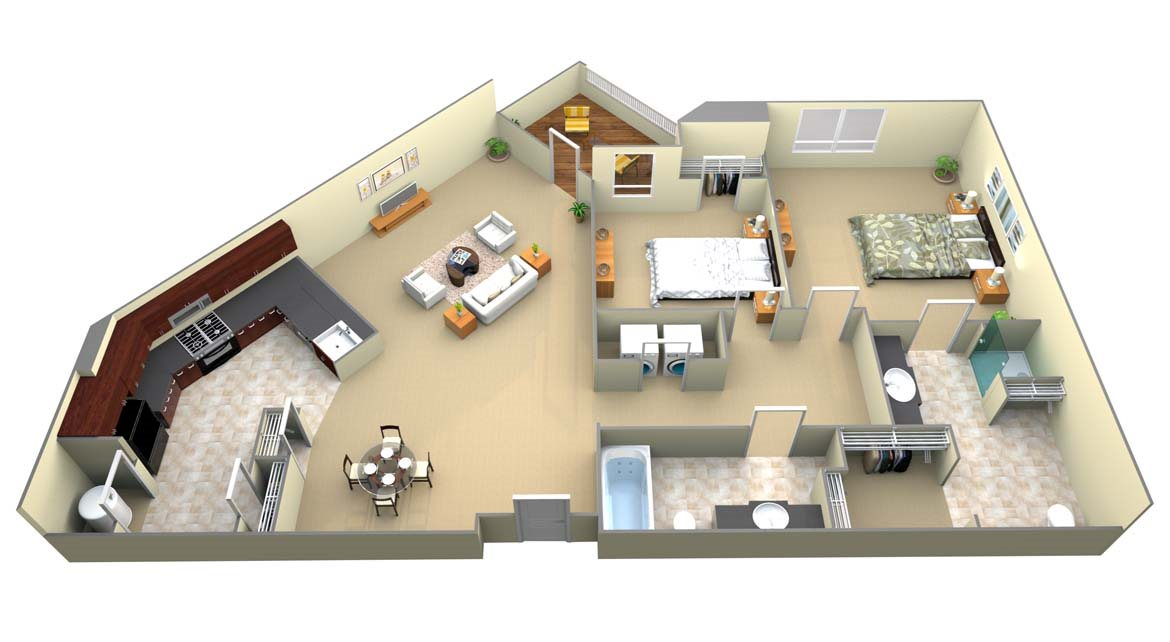 B2 2 Bed/2 Bath Floor Plan 2