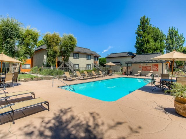 Pool Side Relaxing Area at Riverwalk Landing Apartment Homes, Riverside, CA