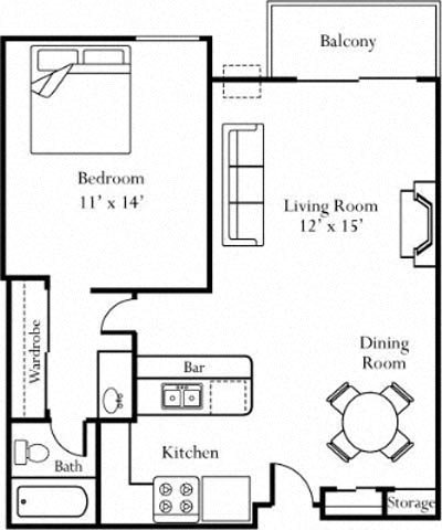 1BR/1BA Floorplan at Cornerstone Apartments