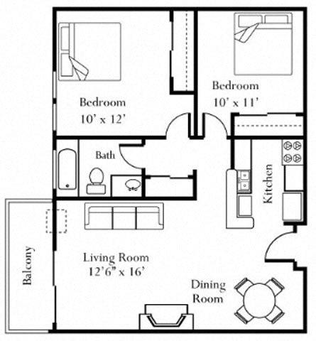 2BR/1BA Floorplan at Cornerstone Apartments