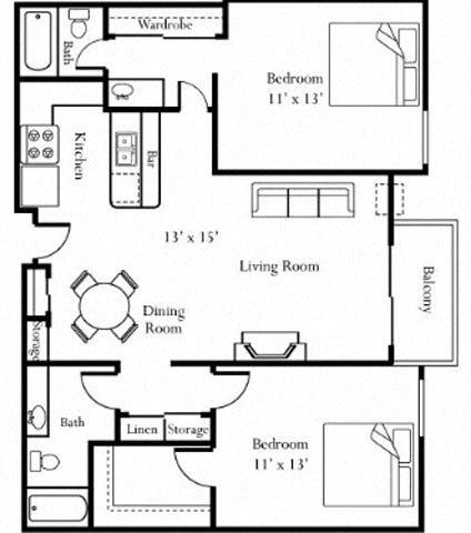 2BR/2BA Floorplan at Cornerstone Apartments
