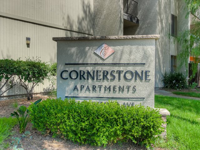 Signage at the entrance of Cornerstone Apartments, CA, 91304