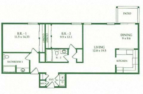 2BR/2BA G Floorplan at Crooked Oak at Loma Verde Preserve