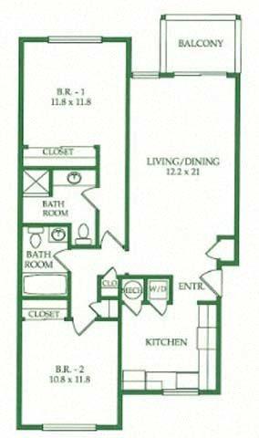 2BR/2BA C Floorplan at Crooked Oak at Loma Verde Preserve